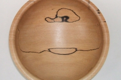 A small Spalted Beech bowl, it measured 150 mm in diameter by about 75 mm deep, a rolled lip was used on the top edges.